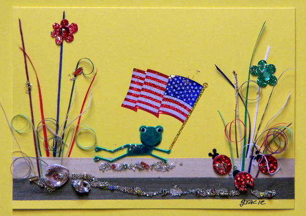 4th July Poster featuring the mixed media Patriot Frog by Gracies Creations