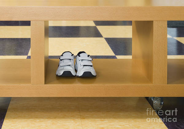 Apartment Poster featuring the photograph Shoes In A Shelving Unit by Andersen Ross