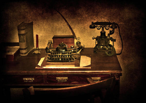 Alphabet Poster featuring the photograph Writers Desk by Svetlana Sewell