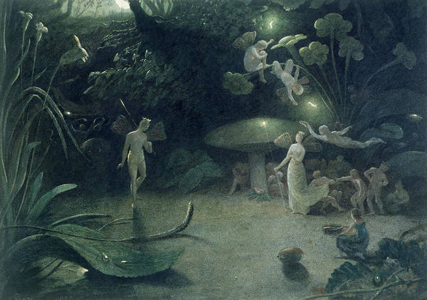Fairy; Fairies; Nocturnal; Oberon; Titania; Quarrel; Child; Glow Worm; Taper; Lighting Poster featuring the painting Scene From 'a Midsummer Night's Dream by Francis Danby