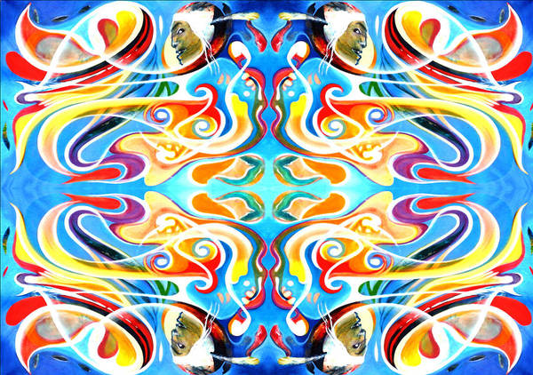 Fabric Pattern Created From Original Painting Poster featuring the tapestry - textile Red Indian by Ky Wilms