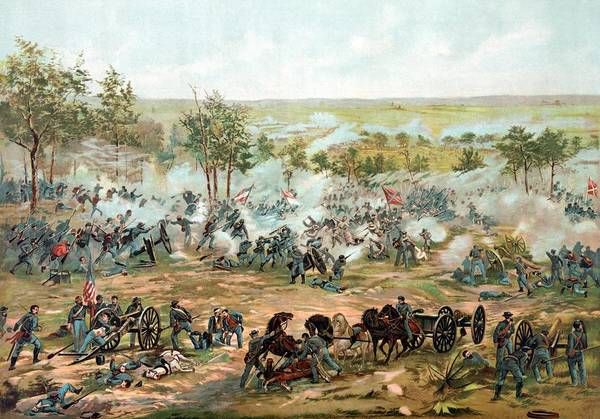Gettysburg Poster featuring the painting Battle Of Gettysburg by War Is Hell Store