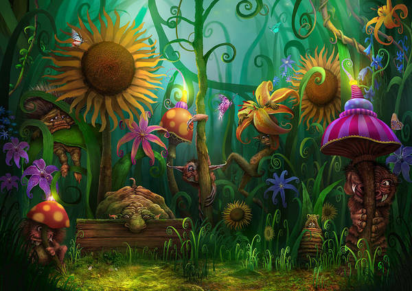 Enchanted Forest Poster featuring the painting Meet The Imaginaries by Philip Straub