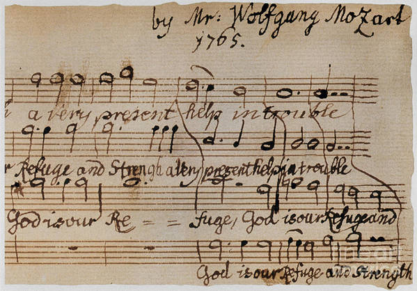 1765 Poster featuring the photograph Mozart: Motet Manuscript by Granger