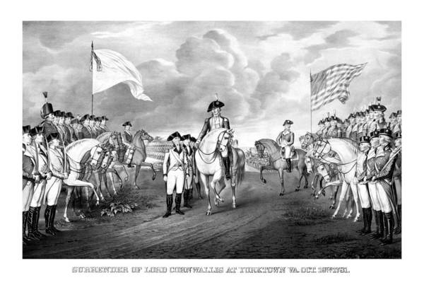 George Washington Poster featuring the drawing Surrender Of Lord Cornwallis At Yorktown by War Is Hell Store