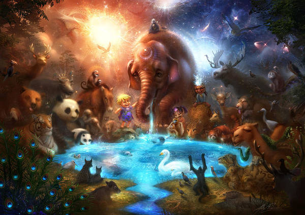 Animals Poster featuring the digital art Thirst For Life by Alex Ruiz