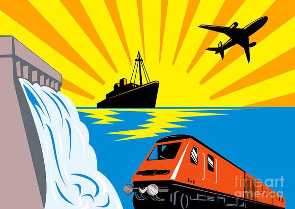 Illustration Poster featuring the digital art Train Boat Plane And Dam by Aloysius Patrimonio