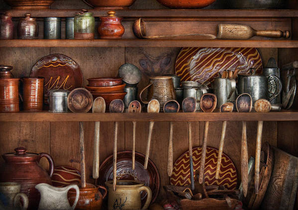 Kitchen Poster featuring the photograph Utensils - What I Found In A Cabinet by Mike Savad