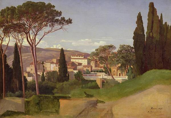View Poster featuring the painting View Of A Villa by Jean Achille Benouville