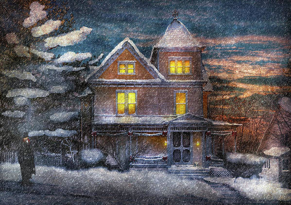Hdr Poster featuring the photograph Winter - Clinton Nj - A Victorian Christmas by Mike Savad