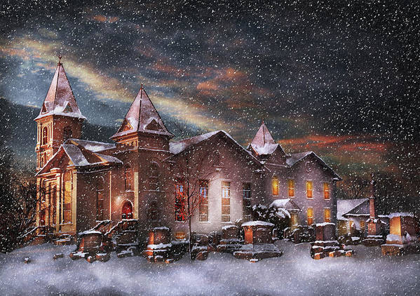 Hdr Poster featuring the photograph Winter - Clinton Nj - Silent Night by Mike Savad