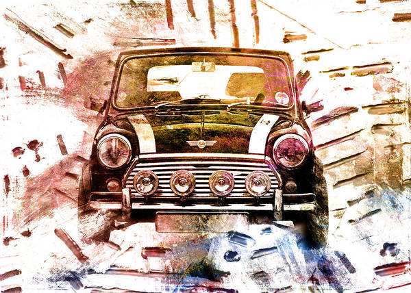1960s Mini Cooper Poster featuring the digital art 1960s Mini Cooper by David Ridley