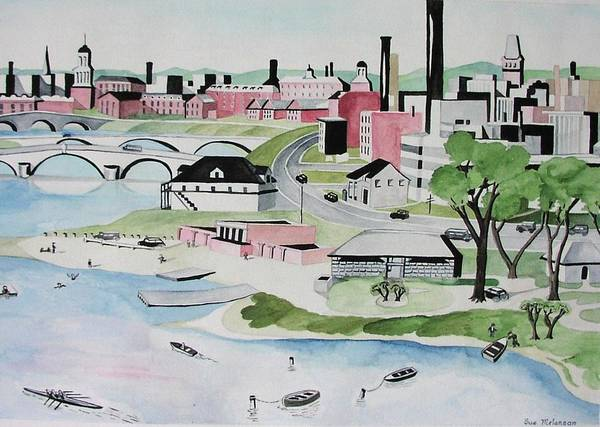 Landscape Poster featuring the painting Charles River by Sue Melanson