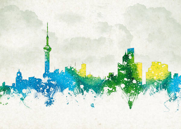 Architecture Poster featuring the digital art Clouds Over Shanghai China by Aged Pixel