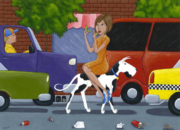 Dog Poster featuring the painting Commuting by Christy Beckwith