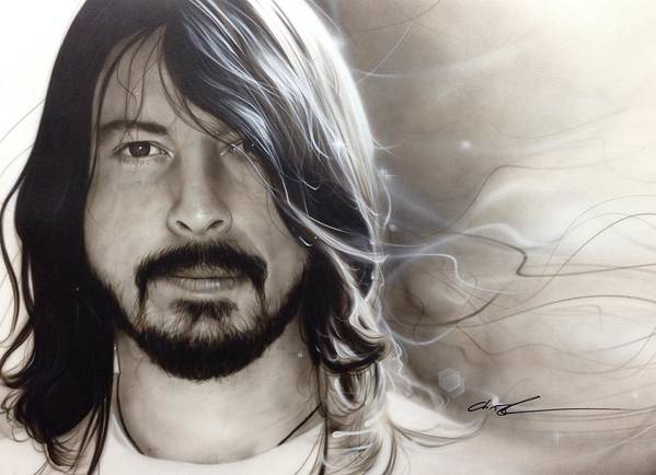 Dave Grohl Poster featuring the painting 'd.g.' by Christian Chapman Art