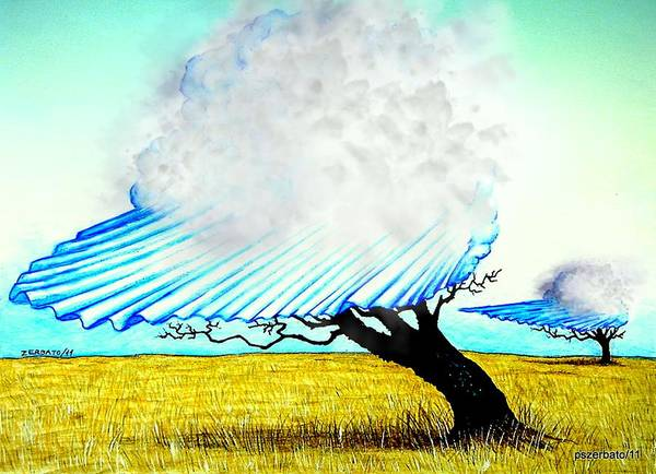 Clouds Passing Poster featuring the digital art Ephemeral And Brief by Paulo Zerbato
