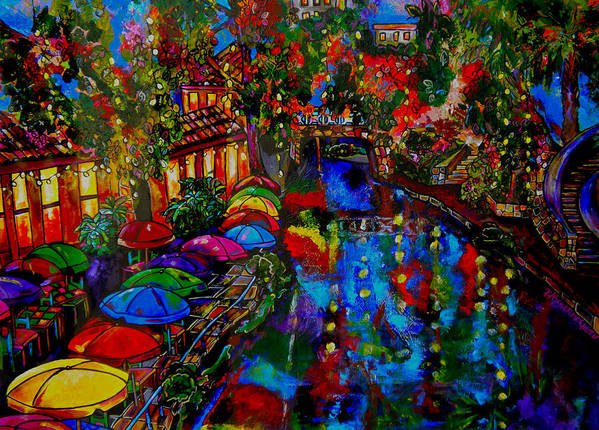 San Antonio Poster featuring the painting Fall On The Riverwalk by Patti Schermerhorn