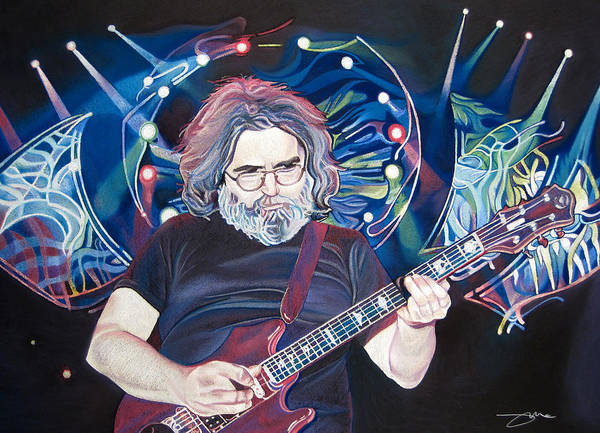 Jerry Garcia Poster featuring the drawing Jerry Garcia And Lights by Joshua Morton