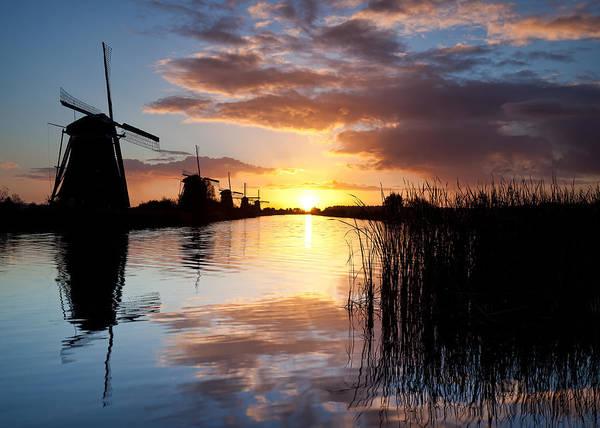 Kinderdijk Poster featuring the photograph Kinderdijk Sunrise by Dave Bowman