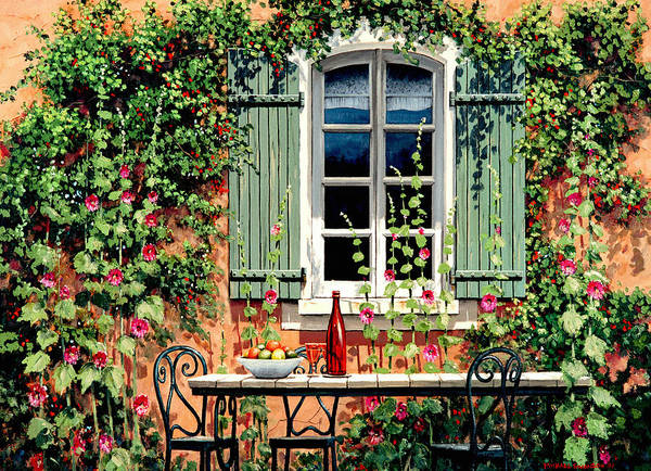 French Window Poster featuring the painting Mediterranean Memories - Oil by Michael Swanson