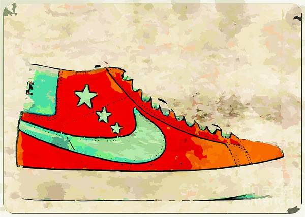 Nike Poster featuring the digital art Nike Blazer Orange by Alfie Borg
