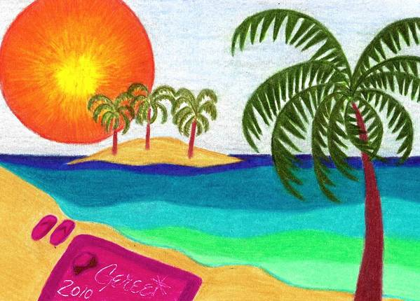 Beach Poster featuring the drawing Palm Trees Across The Water by Geree McDermott