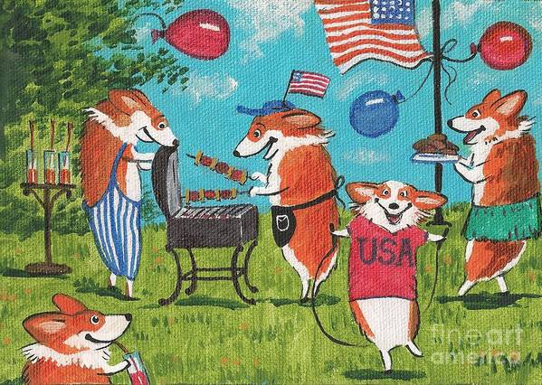 Print Poster featuring the painting Patriotic Pups by Margaryta Yermolayeva