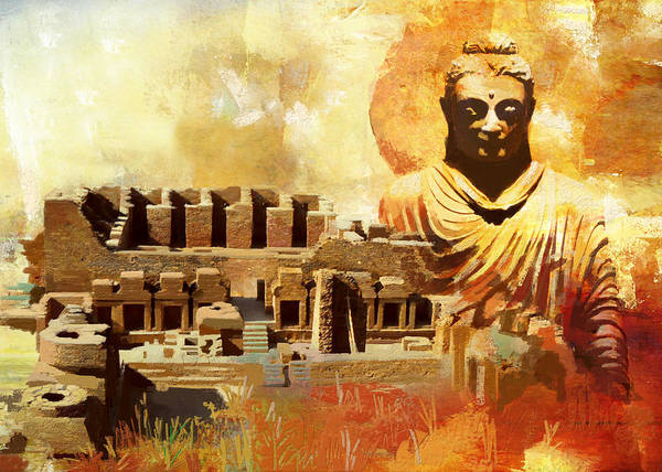 Pakistan Poster featuring the painting Takhat Bahi Unesco World Heritage Site by Catf