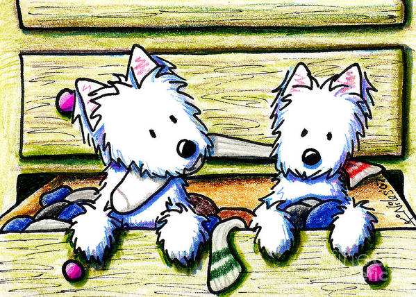 Dog Poster featuring the drawing The Joy Of Socks by Kim Niles