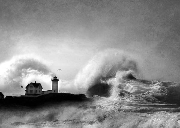 Nubble Lighthouse Poster featuring the photograph The Nubble In Trouble by Lori Deiter