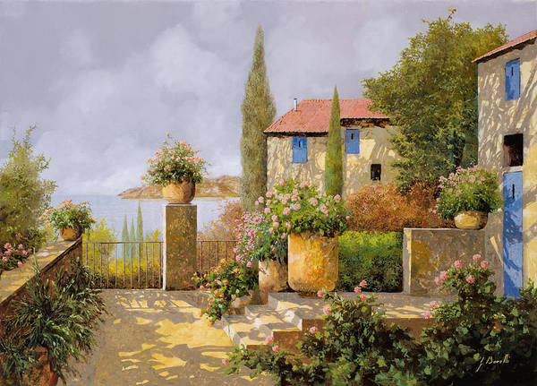 Terrace Poster featuring the painting Uno Sguardo Sul Mare by Guido Borelli