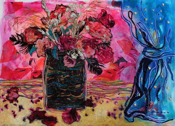Flowers In A Vase Poster featuring the mixed media Vase And Blue Curtain by Diane Fine