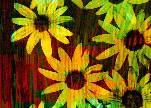 Daisy Poster featuring the digital art Yellow And Green Daisy Design by Ann Powell