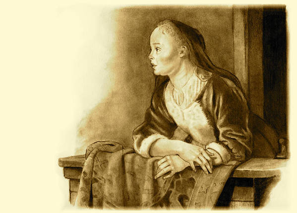 Woman Poster featuring the drawing Young Woman On A Balcony Sepia by Joyce Geleynse