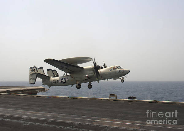 Uss Enterprise Poster featuring the photograph An E-2c Hawkeye Takes by Stocktrek Images