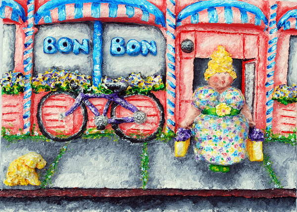 Pink Poster featuring the relief Bon Bon Betty by Alison Galvan