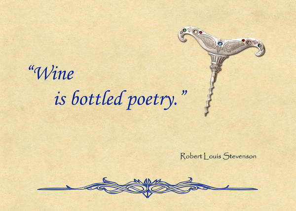 Wine Poster featuring the painting Bottled Poetry by Elaine Plesser