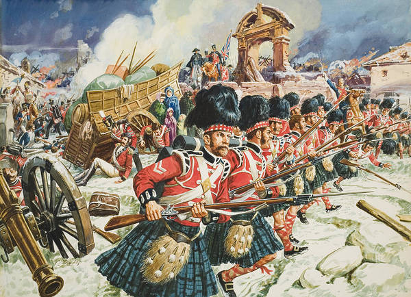 Northwest Spain; Defending; Soldier; Soldiers; Rifle; Rifles ;cannon; Church; Peninsular War; 51st Highlanders; Scottish; Military; Sir John Moore; Traditional; Costume; Dress; Uniform; Regiment; Defense; La Corogne Poster featuring the painting Defence Of Corunna by C L Doughty