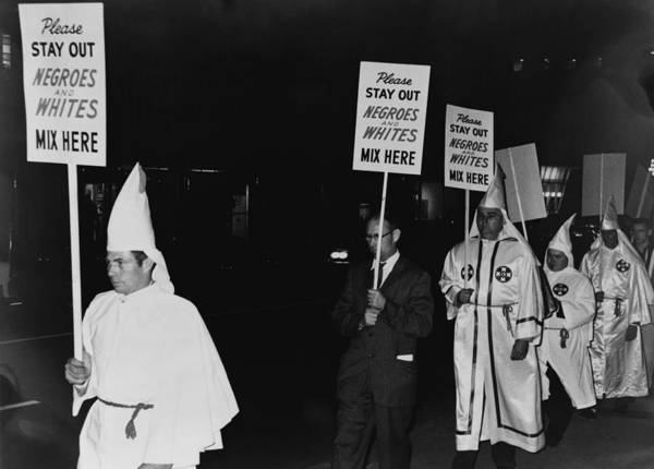 History Poster featuring the photograph Ku Klux Klan Members, In Hooded White by Everett