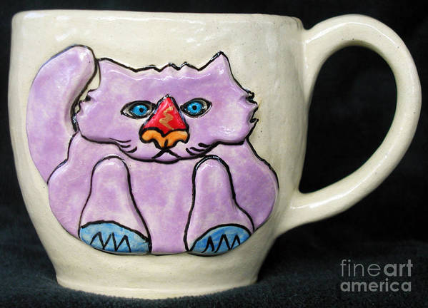 Cat Poster featuring the ceramic art Lightning Nose Kitty Mug by Joyce Jackson