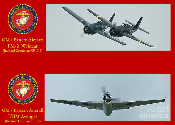 Usmc Poster featuring the photograph Marine Wildcat And Avenger by Tim Mulina