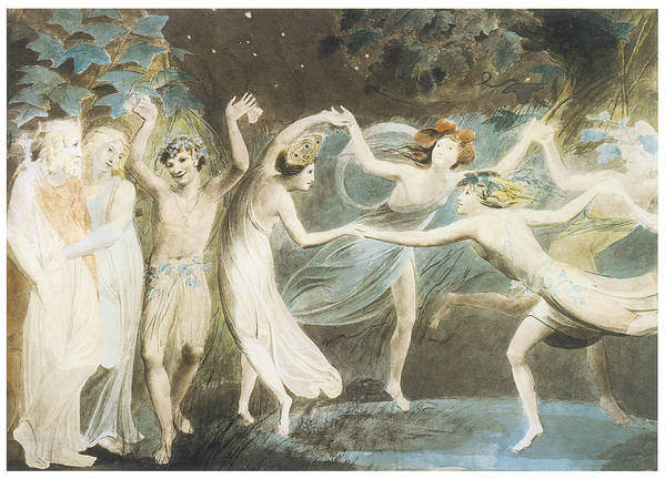 William Blake Poster featuring the painting Oberon Titania And Puck With Fairies Dancing by William Blake