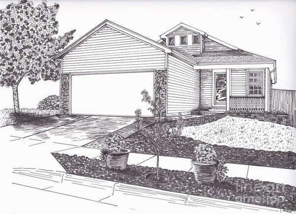 Architectural Art Poster featuring the drawing Teresa's House by Michelle Welles