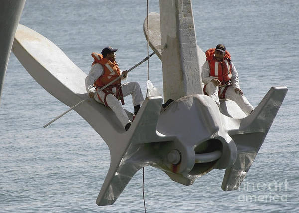 Uss Enterprise Poster featuring the photograph U.s. Navy Servicemen Apply A Coat by Stocktrek Images
