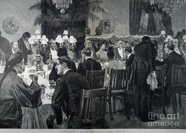 1888 Poster featuring the photograph White House: State Dinner by Granger