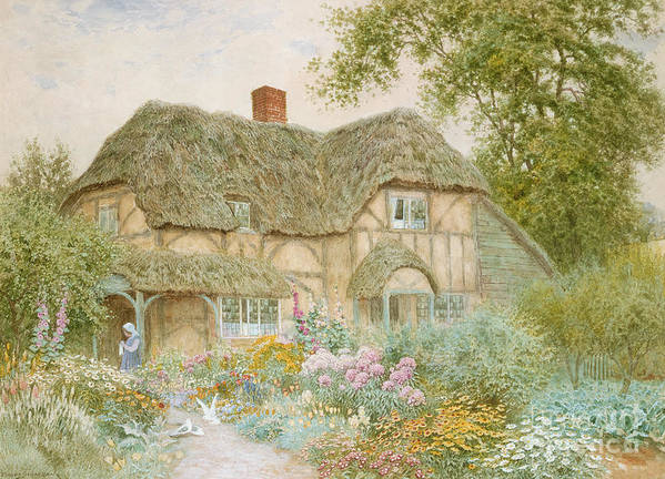 A Surrey Cottage (w/c) By Arthur Claude Strachan (1865-1935) Poster featuring the painting A Surrey Cottage by Arthur Claude Strachan