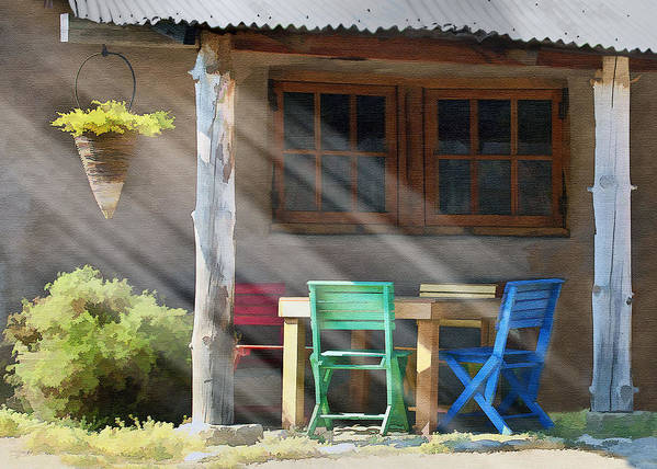 Window Poster featuring the digital art Colorful Chairs by Sharon Foster