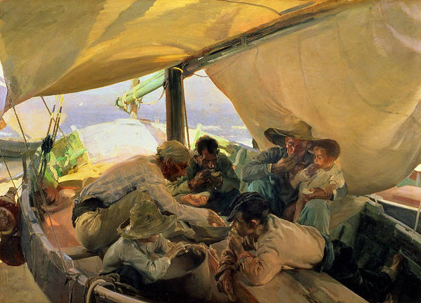 Boat Poster featuring the painting Lunch On The Boat by Joaquin Sorolla y Bastida