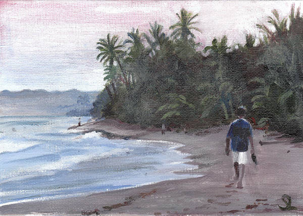 Puerto Rico Poster featuring the painting Morning Walk by Sarah Lynch